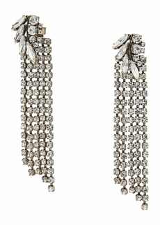 J.Crew Pave Feather Crystal Chain Earrings