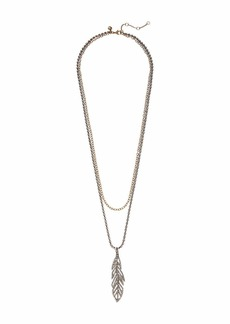 J.Crew Pave Feather Layered Necklace