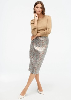 J.Crew Pencil skirt in gold leaf jacquard