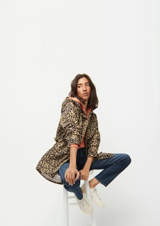 J.Crew Perfect rain jacket in leopard print