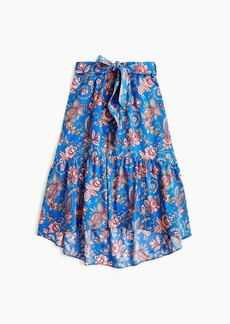 J.Crew Tall belted pull-on midi skirt in Liberty® Flora Belle blue