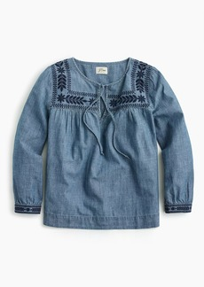 J.Crew Tall embroidered chambray top