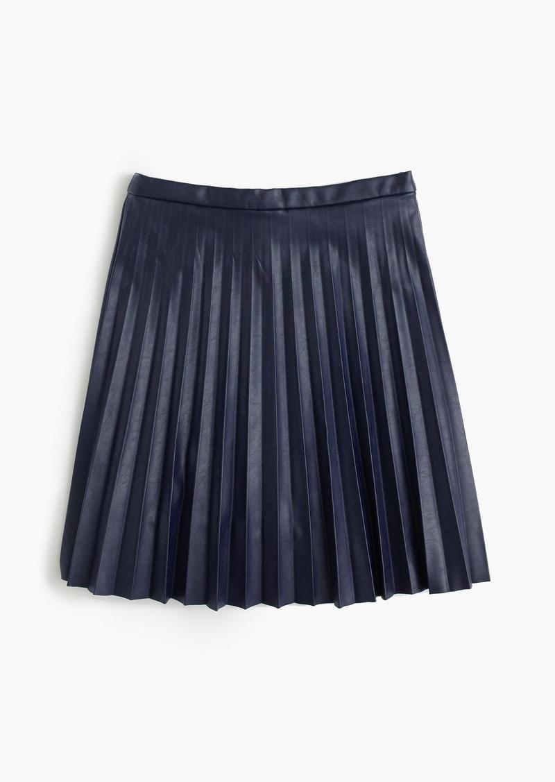 J.Crew Petite faux-leather pleated mini skirt