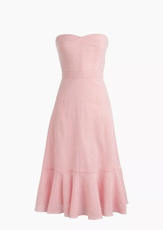 Tall strapless ruffle-hem dress in seersucker