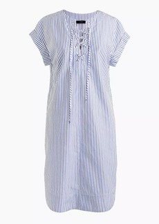 Petite striped lace-up shirtdress