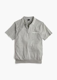 J.Crew Pima cotton short-sleeve Johnny-collar sweater polo