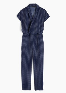 Pindot jumpsuit with lapel