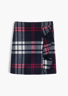 J.Crew Plaid ruffle mini skirt in double-serge wool