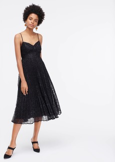 J.Crew Pleated A-line midi dress in metallic lace