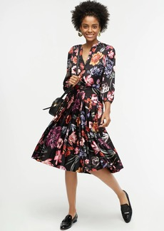 J.Crew Pleated A-line skirt in midnight Dutch floral
