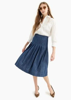 J.Crew Pleated chambray midi skirt