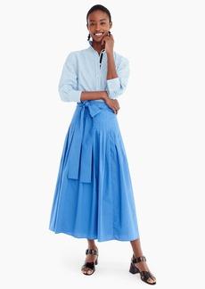 J.Crew Pleated cotton poplin midi skirt