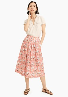 J.Crew Pleated floral midi skirt