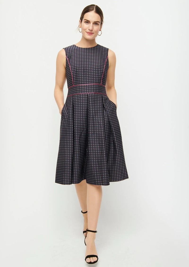 J.Crew Pleated full-skirt jacquard dress