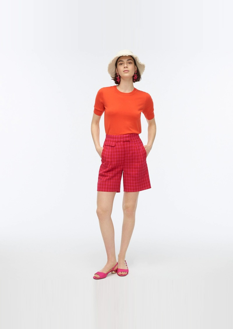 J.Crew Pleated high-rise short in colorful gingham