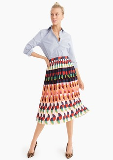 J.Crew Pleated midi skirt in art deco print
