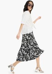 J.Crew Pleated midi skirt in black-and-white paintbrush print