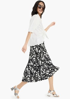 J.Crew Pleated midi skirt in black-and-white paintbrush print