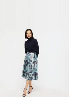 J.Crew Pleated midi skirt in metallic-floral print jacquard