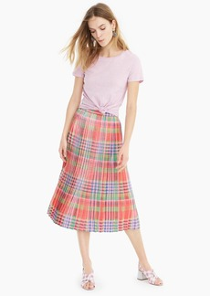 J.Crew Pleated midi skirt in shimmering plaid