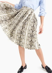 J.Crew Pleated midi skirt in snakeskin print