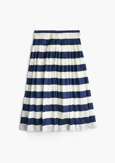 Pleated satin skirt in stripe