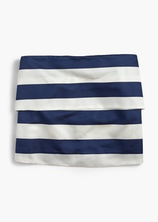 Pleated satin top in stripe