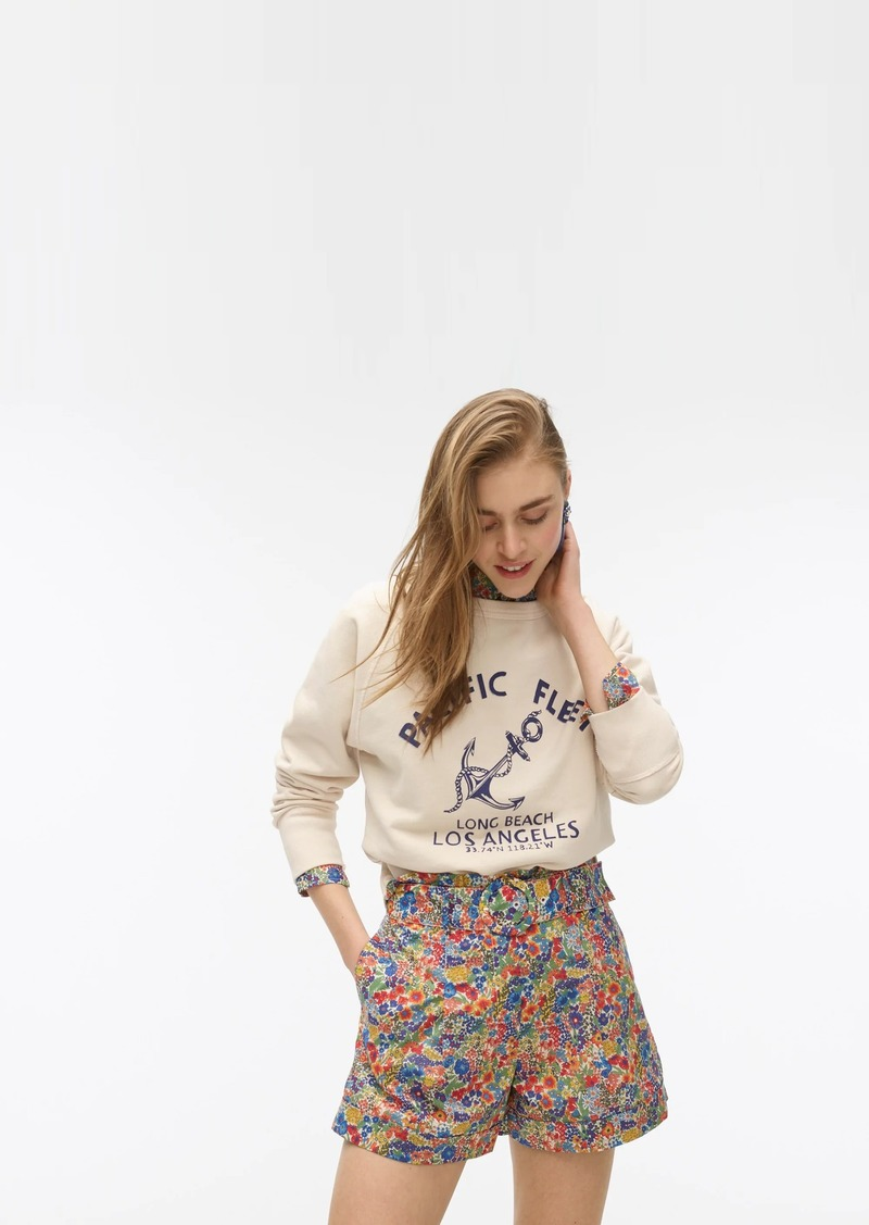 J.Crew Pleated short with ring-buckle belt in Liberty® Margaret Annie print