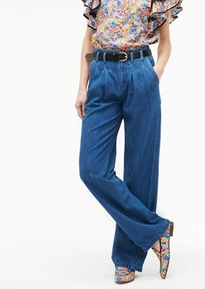 J.Crew Pleated wide-leg pant in indigo chambray