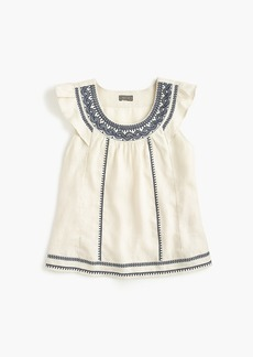 J.Crew Point Sur embroidered flutter linen top