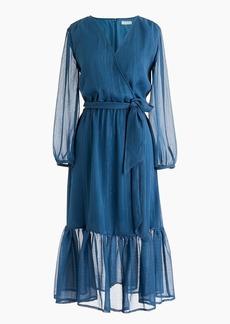 J.Crew Point Sur faux-wrap dress in Lurex® crinkle chiffon