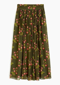 J.Crew Point Sur floral maxi skirt in crinkle chiffon