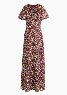 J.Crew Point Sur flutter-sleeve maxi dress in menagerie print