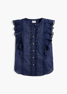 J.Crew Point Sur sleeveless embroidered flutter top