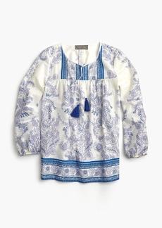 J.Crew Point Sur tassle tunic in sparkle block print