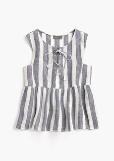 J.Crew Point Sur tie-front top in striped linen