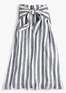 J.Crew Petite Point Sur tie-waist skirt in nautical striped linen