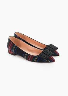 J.Crew Pointed-toe flats with bow in tartan
