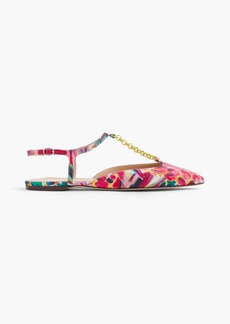 Pointed-toe flats with chain link in Ratti® painted pineapple