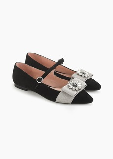 J.Crew Pointed-toe Mary Jane flats with embellished bow in velvet