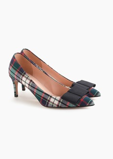 J.Crew Pointed toe pumps with bow in festive plaid