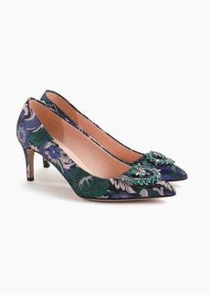 J.Crew Pointed toe pumps with embellishment in metallic jacquard