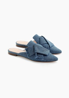 J.Crew Pointed-toe slides in denim