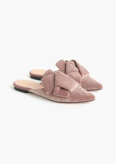 J.Crew Pointed-toe slides in velvet