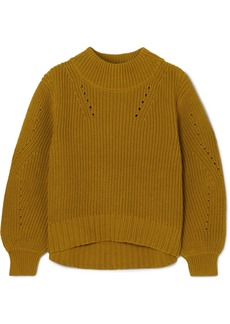 J.Crew Pointelle-trimmed Ribbed Cotton Sweater