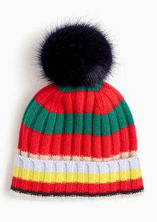 J.Crew Pom pom hat in striped everyday cashmere