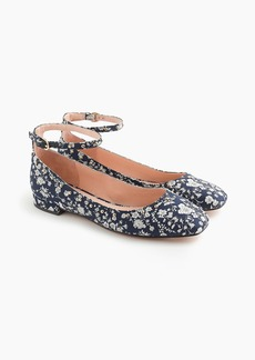 J.Crew Poppy ankle-strap ballet flats in Liberty® floral with embellisments