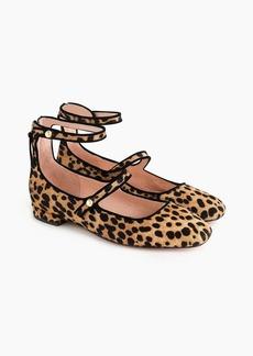 J.Crew Poppy two-strap ballet flats in leopard calf hair