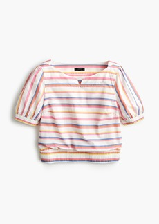 J.Crew Cropped cinched-waist top in sorbet stripe