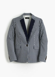 J.Crew Puckered gingham blazer with navy lapel